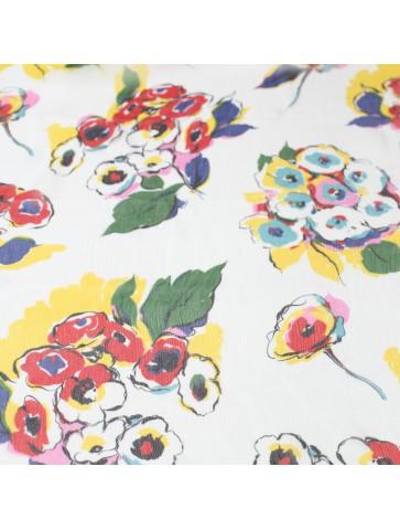 Šifoninis šilkas su gėlėmis